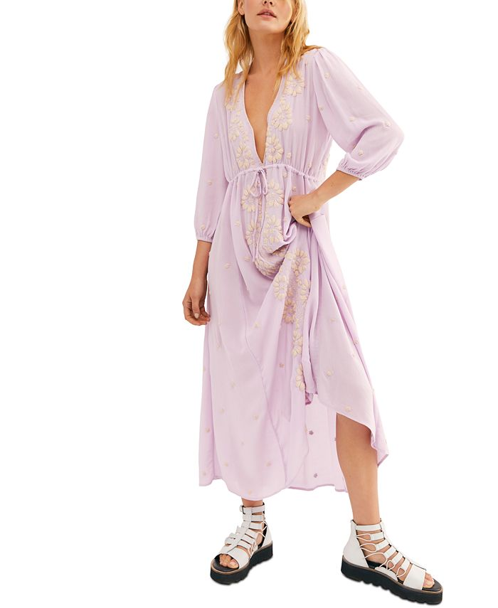 Free People - Embroidered Empire-Waist Dress