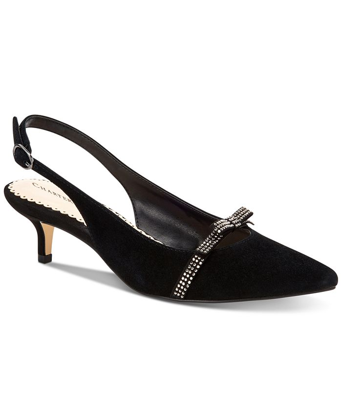 Charter Club - Women's Gilaa Bling Bow Slingback Pumps