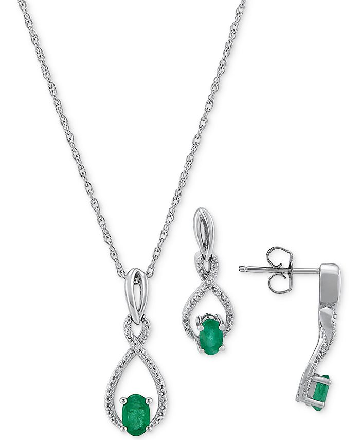 Macy's - 2-Pc. Set Emerald (7/8 ct. t.w.) & Diamond (1/20 ct. t.w.) Pendant Neckalce & Matching Drop Earrings in Sterling Silver (Also in Sapphire)