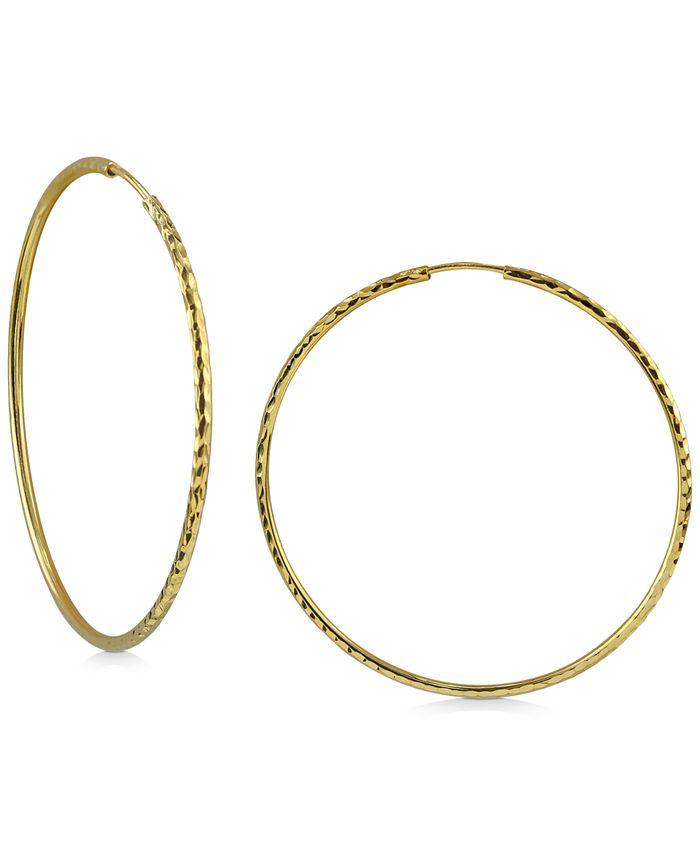 """Argento Vivo - Medium Endless Hoop Earrings in 18K Gold-Plated Sterling Silver, 2"""""""