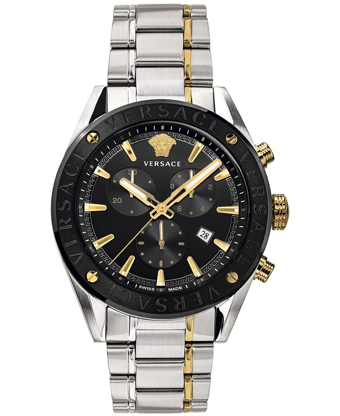 Versace - Men's Swiss V-Chrono Two-Tone Stainless Steel Bracelet Watch 44mm