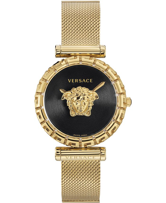 Versace - Women's Swiss Palazzo Empire Greca Gold Ion-Plated Stainless Steel Mesh Bracelet Watch 37mm
