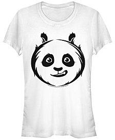 Fifth Sun Kung Fu Panda Women's Po Face Outline Sketch Short Sleeve Tee Shirt