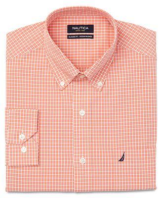 Nautica Dress Shirt Orange And White Box Check Long