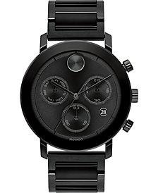 Movado Men's Swiss Chronograph Bold Evolution Black Ion-Plated Steel Bracelet Watch 42mm