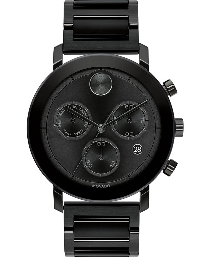 Movado - Men's Swiss Chronograph Bold Evolution Black Ion-Plated Steel Bracelet Watch 42mm