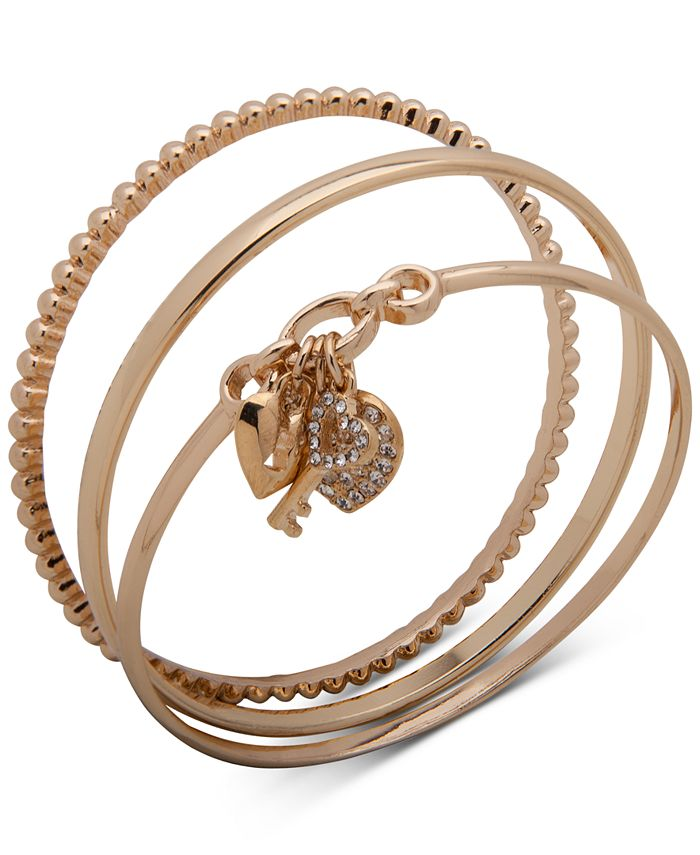 Anne Klein - Gold-Tone 3-Pc. Set Pavé Heart Lock & Key Bangle Bracelets