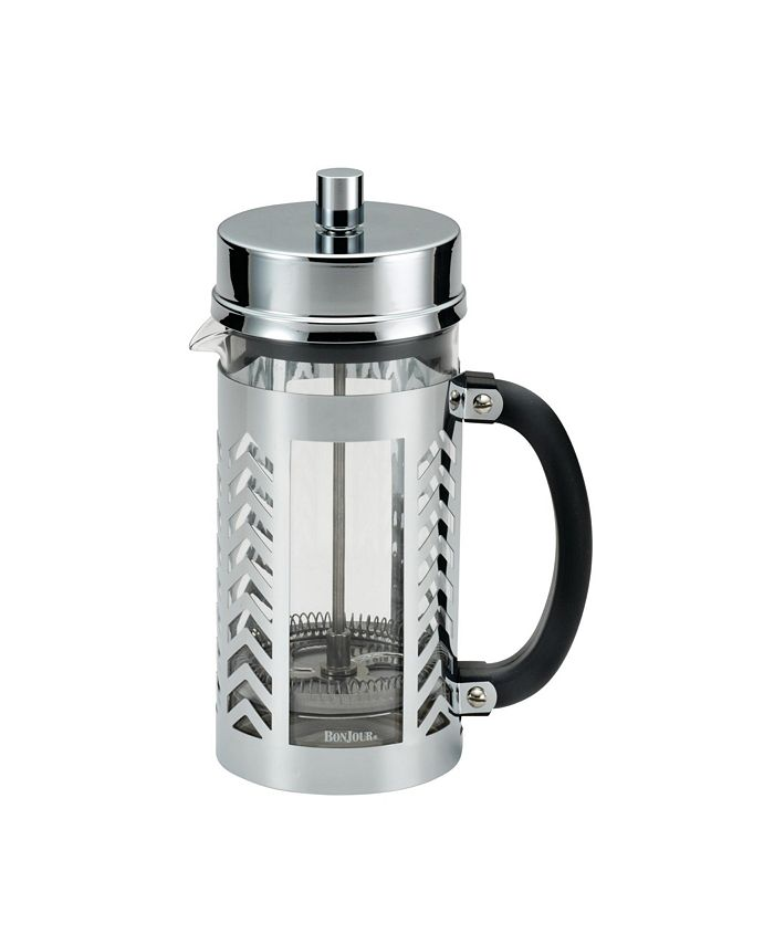 Bonjour - BonJour Glass and Stainless Steel Chevron 33.8-Oz. French Press