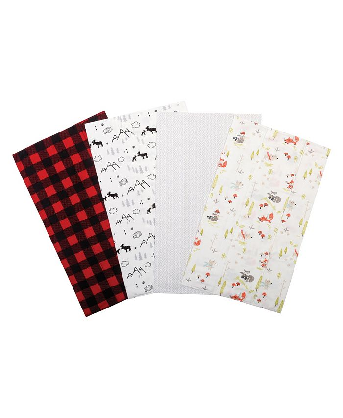 Trend Lab - Buffalo Check Woodland Flannel Burp Cloth 4-Pack