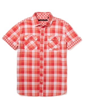 Sean John Shirt Double Face Plaid Short Sleeve Shirt