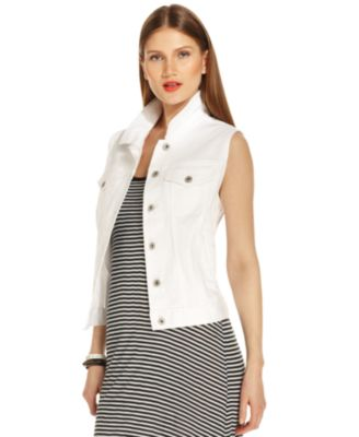 White Jean Jacket Vest - JacketIn