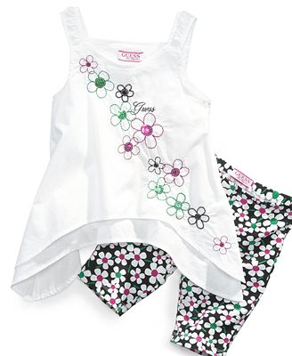 GUESS Kids Set, Little Girls 2-Piece Embroidered Tank and Leggings