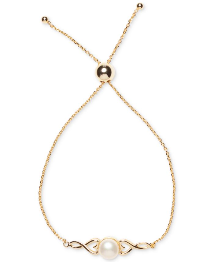 Macy's Cultured Freshwater Pearl (8mm) Heart Bolo Bracelet in 18k Gold-Plated Sterling Silver & Reviews - Bracelets - Jewelry & Watches - Macy's