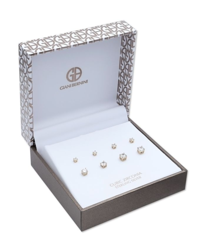 Giani Bernini Cubic Zirconia 4-Pc. Set Graduated Stud Earrings in 18k Yellow or Rose Gold  over Sterling Silver & Reviews - Earrings - Jewelry & Watches - Macy's