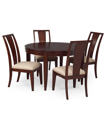 Piece Set Round Table And 4 Panel Back Chairs Furniture Macy 39 S