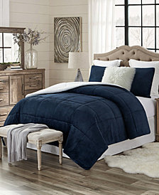 Plush Faux Fur and Sherpa Reversible King/Cal King Comforter Set