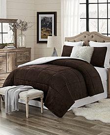 Plush Faux Fur and Sherpa Reversible Full/Queen Comforter Set