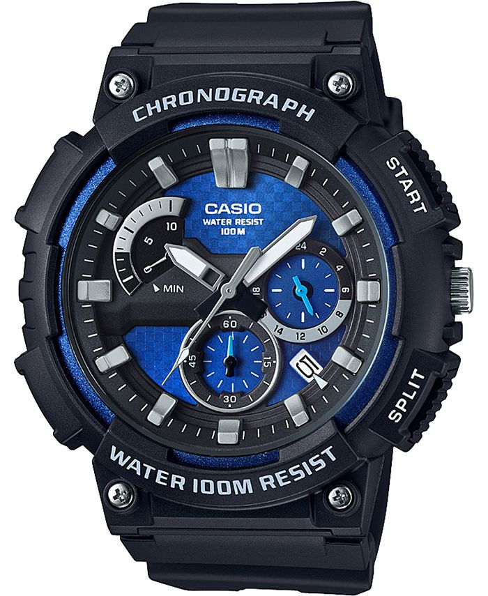 Casio - Men's Chronograph Black Resin Strap Watch 53.5mm
