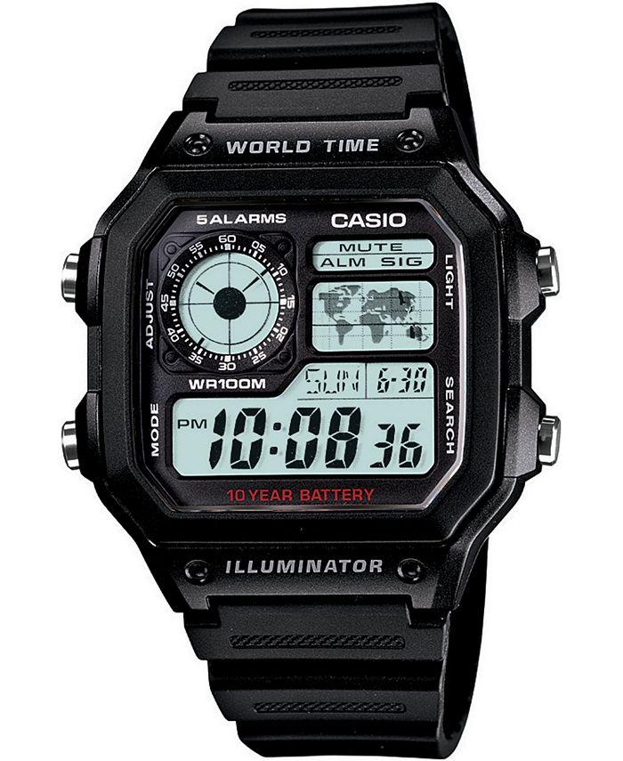 Casio - Unisex Digital Black Resin Strap Watch 39.5mm