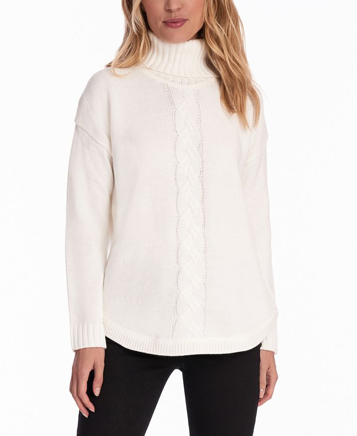 Jones New York - Cable-Knit Round-Hem Turtleneck Sweater