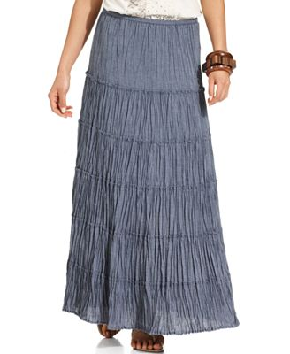 style co skirt tiered chambray maxi skirts