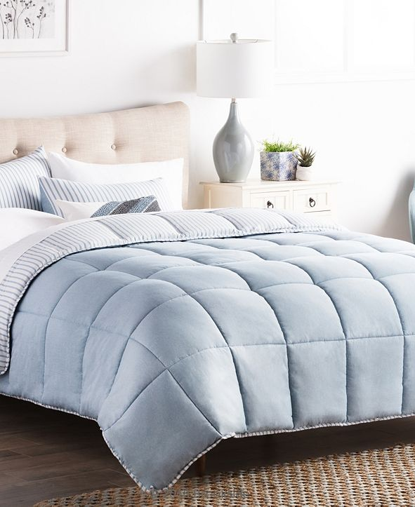 Brookside Striped Reversible Chambray Comforter Set, Oversized King
