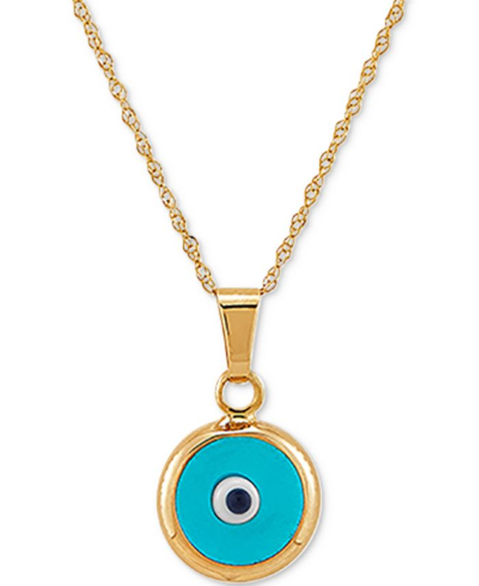 "Macy's - Enamel Evil-Eye 18"" Pendant Necklace in 10k Gold"