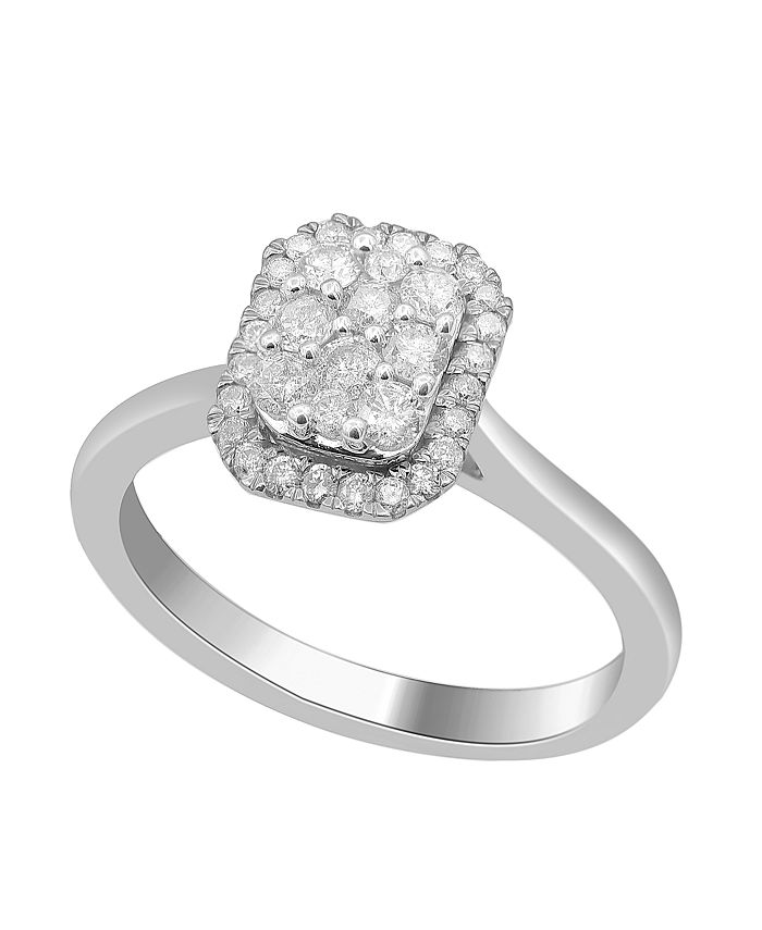Macy's - Emerald Shape Halo Cluster Diamond (1/2 ct. t.w.) Ring in 14K White Gold