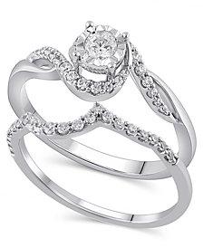 Certified Diamond (3/8 ct. t.w.) Bridal Set in 14K White Gold