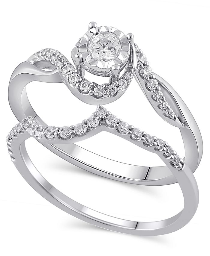 Macy's - Certified Diamond (3/8 ct. t.w.) Bridal Set in 14K White Gold