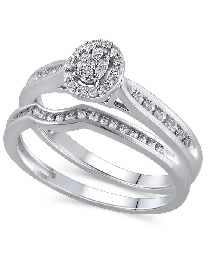 Macy's - Certified Diamond (1/4 ct. t.w.) Bridal Set in 14K White Gold