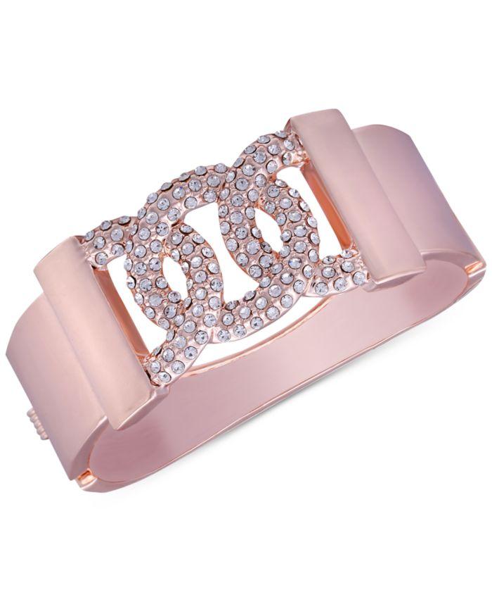 GUESS Rose Gold-Tone Pavé Bangle Bracelet & Reviews - Bracelets - Jewelry & Watches - Macy's