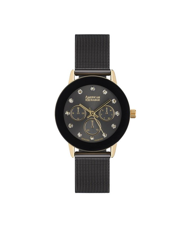 American Exchange - Ladie's Genuine Diamond Collection Black Mesh Bracelet Watch