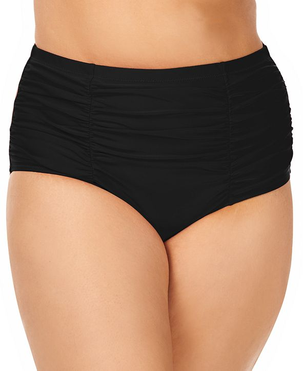 Raisins Curve Trendy Plus Size Ruched Costa Tummy Control High-Waist Bikini Bottoms