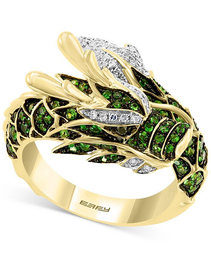 EFFY Collection - Tsavorite (3/4 ct. t.w.) & Diamond (1/5 ct. t.w.) Dragon Statement Ring in 14k Gold