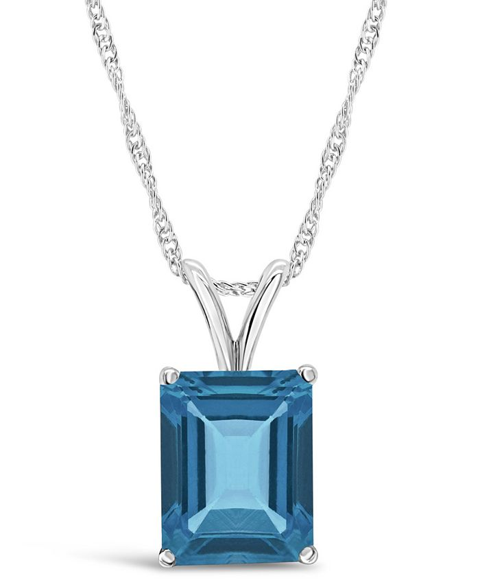 Macy's - Emerald-cut Pendant Necklace in Sterling Silver. Available in Blue Topaz, Amethyst, and Citrine