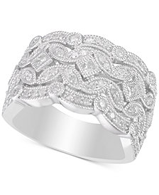 Diamond Filigree Statement Ring (3/4 ct. t.w.) in Sterling Silver