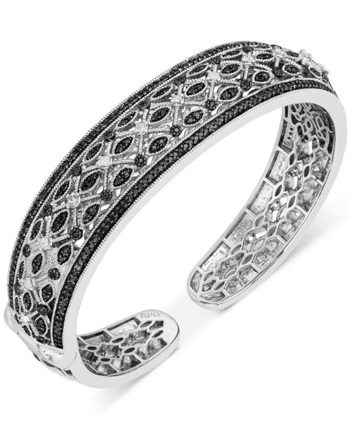 Macy's Diamond Hinge Cuff Bangle Bracelet (1-1/2 ct. t.w.) in Sterling Silver & Reviews - Bracelets - Jewelry & Watches - Macy's