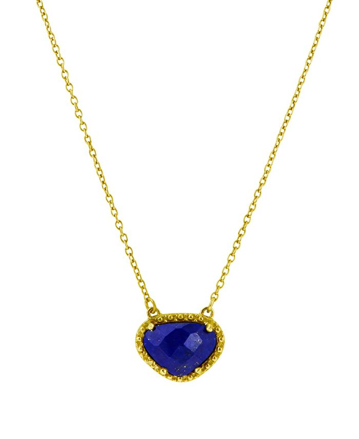 ADORNIA - Organic Cut Lapis and Diamond Necklace