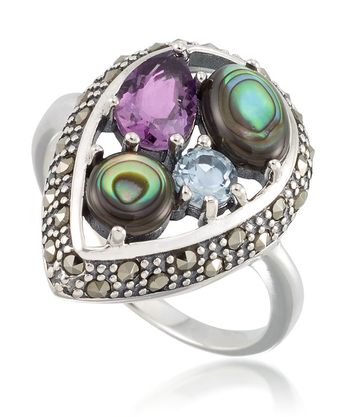 Macy's - Marcasite and Amethyst (1-1/4 ct. tw.), Abalone (9/10 ct. t.w.) and Blue topaz (1/4 ct. t.w.) Teardrop Ring in Sterling Silver