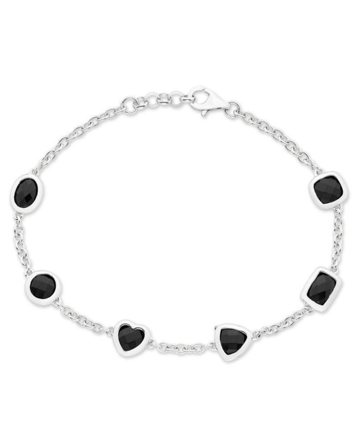 Macy's Multi-Shaped Black Onyx (6mm & 7 x 5 mm) Bracelet in Sterling Silver & Reviews - Bracelets - Jewelry & Watches - Macy's
