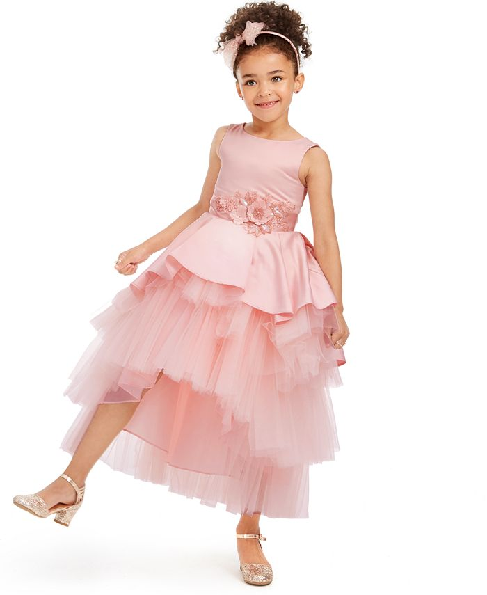 Rare Editions - Little Girls Satin & Tulle Tiered Gown