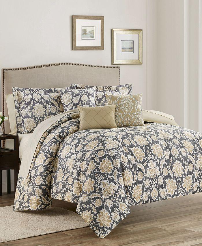 Mytex - Alexandra Floral  10-PieceReversible Comforter Set King