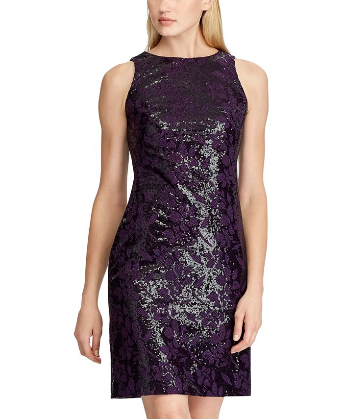 Lauren Ralph Lauren - Sequined Embroidered Floral Dress