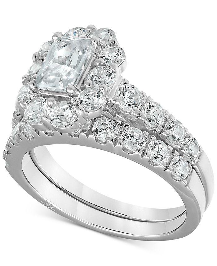 Marchesa - Certified Emerald-Cut Halo Diamond Bridal Set (3 ct. t.w.) in 18k White Gold