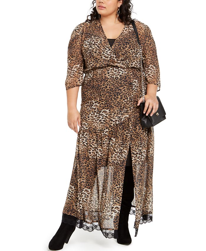 NY Collection - Plus Size Leopard-Print Maxi Dress