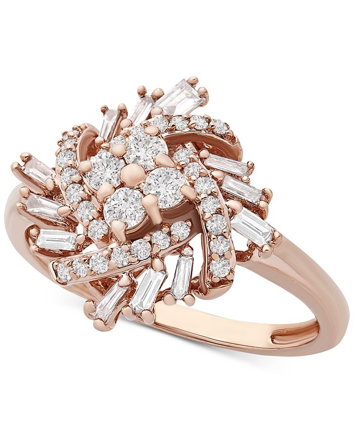 Macy's - Diamond Baguette Cluster Statement Ring (1/2 ct. t.w.) in 10k Rose Gold
