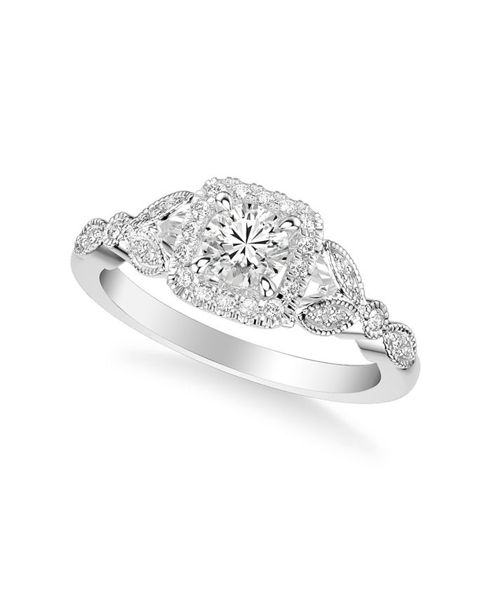 Macy's - Diamond Princess Engagement Ring (5/8 ct. t.w.) in 14k White, Yellow and Rose Gold