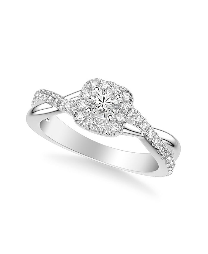 Macy's - Diamond Halo Engagement Ring (5/8 ct. t.w.) in 14k White, Yellow or Rose Gold
