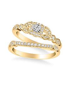 Diamond Princess Bridal Set (1/2 ct. t.w.) in 14k White, Rose or Yellow Gold